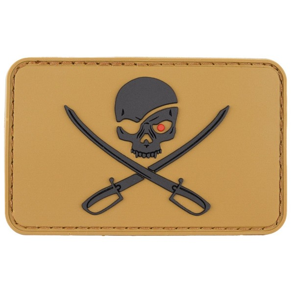 """Skull with Swords"" Rubber Patch, Klett coyote"
