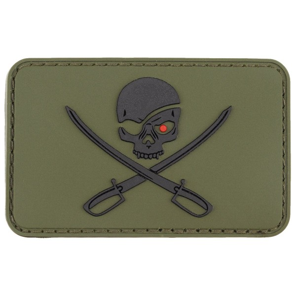 """Skull with Swords"" Rubber Patch, Klett oliv"