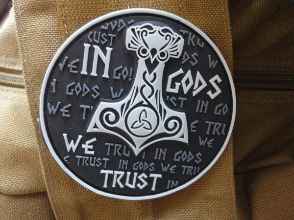 """3D Rubberpatch: """"In Gods we trust"""", subdued"""